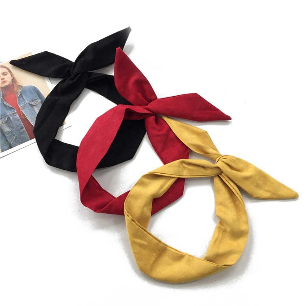 1PC koreański zamsz Retro jednokolorowe uszy królika opaski krzyż łuk Hairbands drut metalowy szalik pałąk akcesoria opaski do włosów