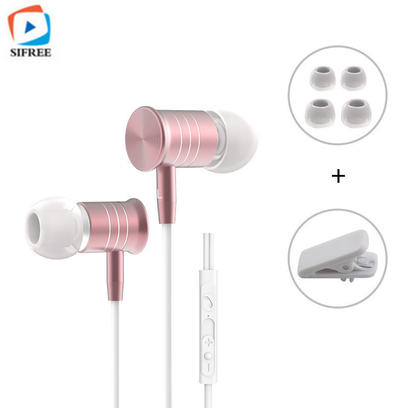 SIFREE I8 Super bass Headphone with microphone HIFI earphone for a mobile phone  Universal Music headset Black
