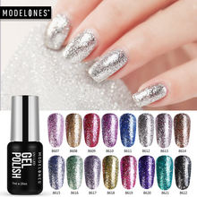 Modelones Platina Glitter UV Gel Nagellak Super Shining Glitter Led Nagellak Vernis Semi Permanente Pailletten UV Gel Emaille(China)