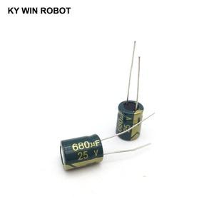 Image 2 - 10 قطع الألومنيوم مُكثَّف كهربائيًا 680 فائق التوهج 25 فولت 10*13mm frekuensi tinggi شعاعي كهربائيا kapasitor