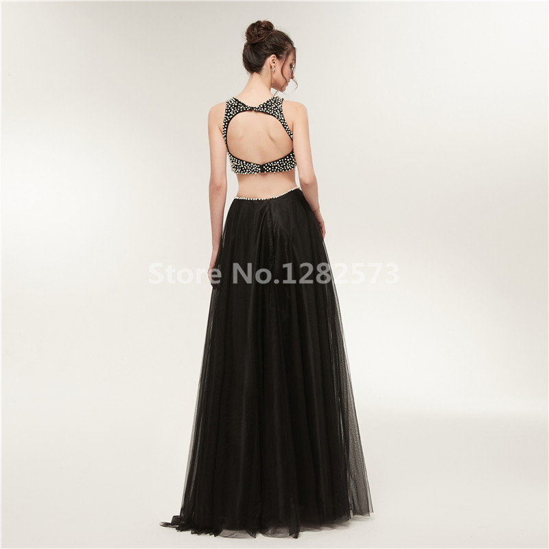 In Stock Black Two Piece Evening Dress Beaded Elegant Sexy Backless Evening  Dresses Long Fancy Formal Dress Tulle Party Gown d81fea7ab039
