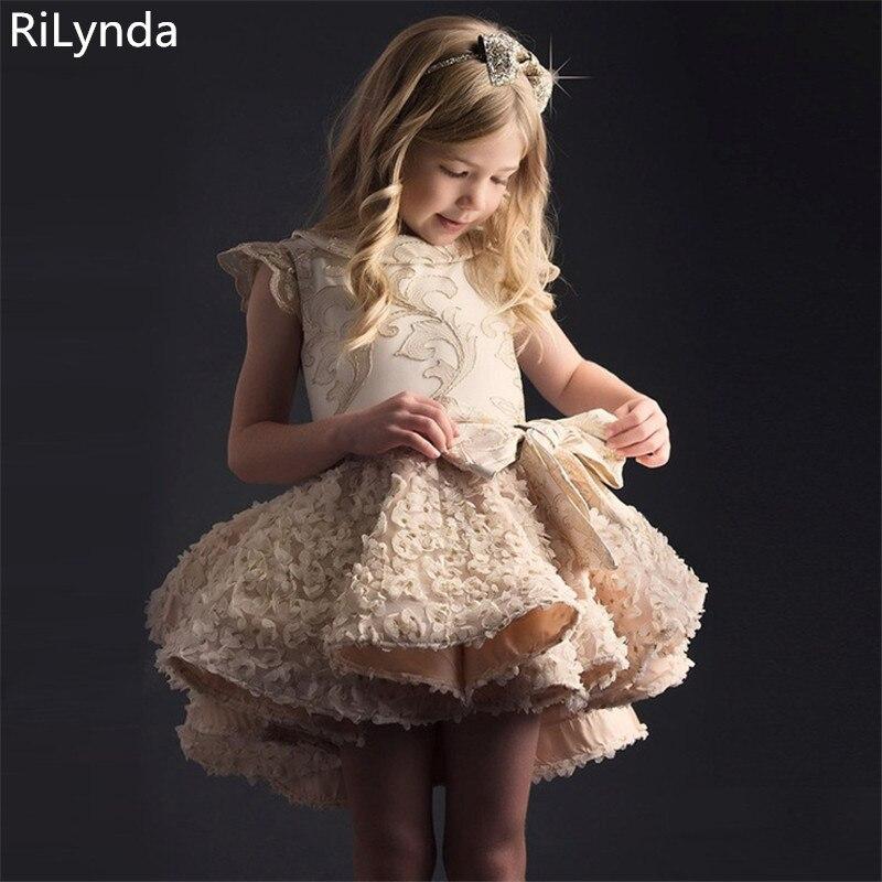 Flower Girl Dresses For Weddings Ball Gown Hig Collar Tulle Pearls First Communion Dresses For Little