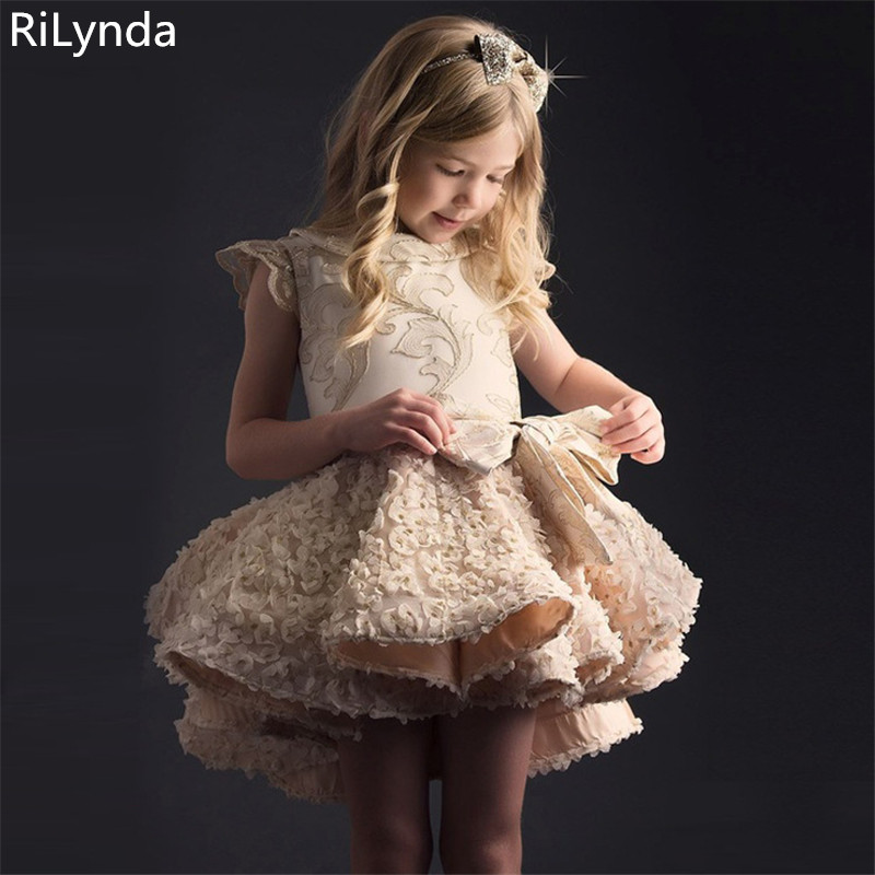 Flower     Girl     Dresses   For Weddings Ball Gown Hig Collar Tulle Pearls First Communion   Dresses   For Little   Girls