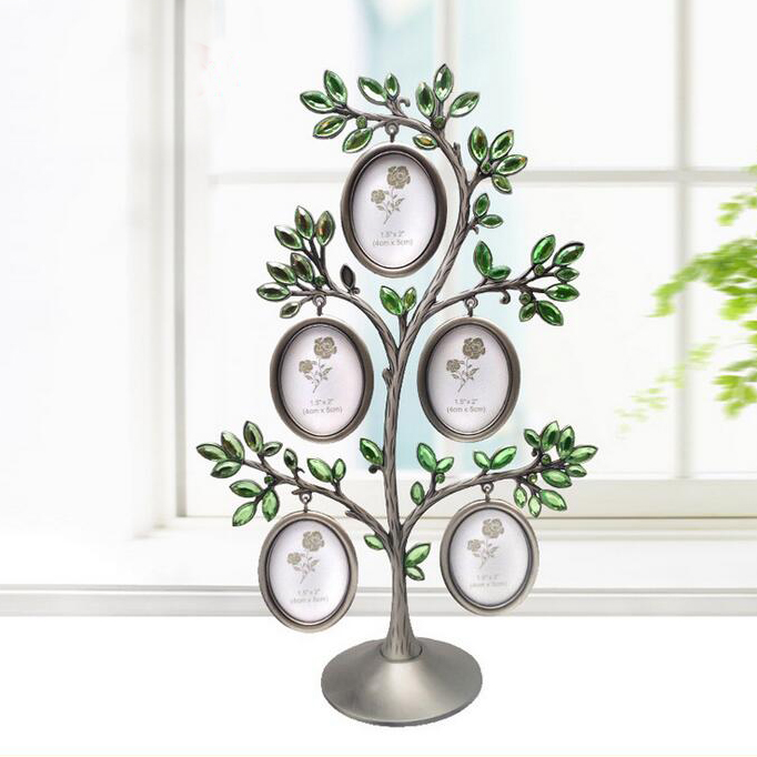 Best europe family tree metal green crystal photo frame for Best home decor items
