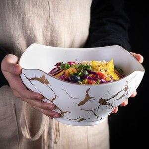 Image 3 - Cuenco nórdico original para ensalada, 1 Uds., vajilla de cerámica para el hogar de mármol, tazón de sopa, cuencos grandes, tazón de mezcla