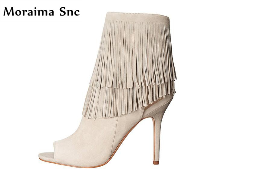 Moraima Snc long Fringe vintage velvet sexy women Ankle boots peep toe thin high heel side zipper Riding boots casual shoes