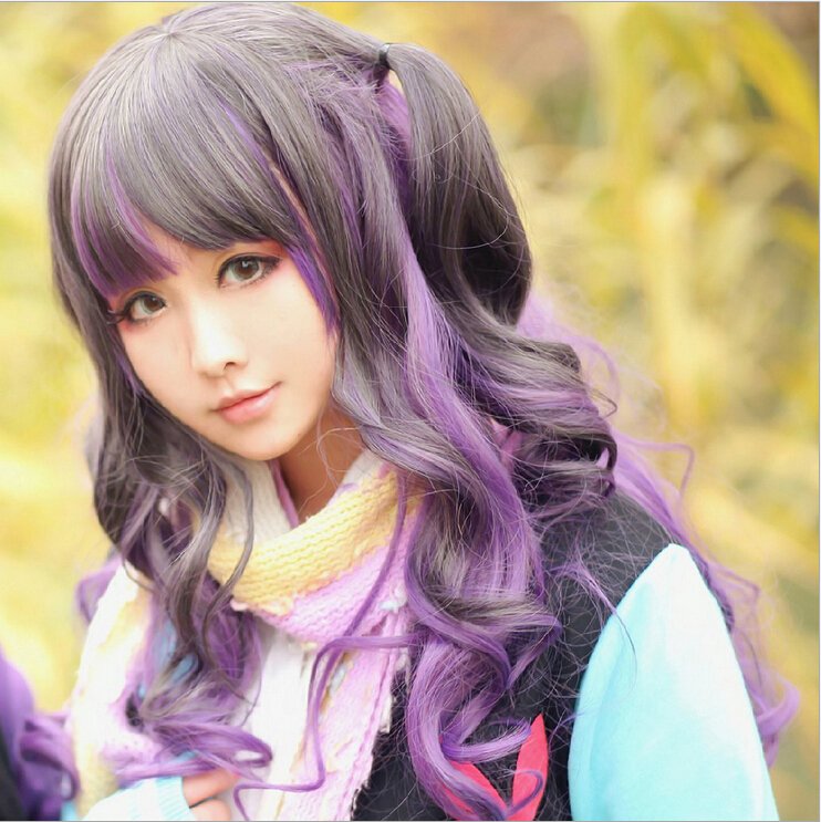 Harajuku Full Synthetic Womens Wigs Long Curly Wavy Hair Full Bangs Purple To Black Ash Gradient Party Anime Cosplay Wig k19 16inch wavy purple gradient light