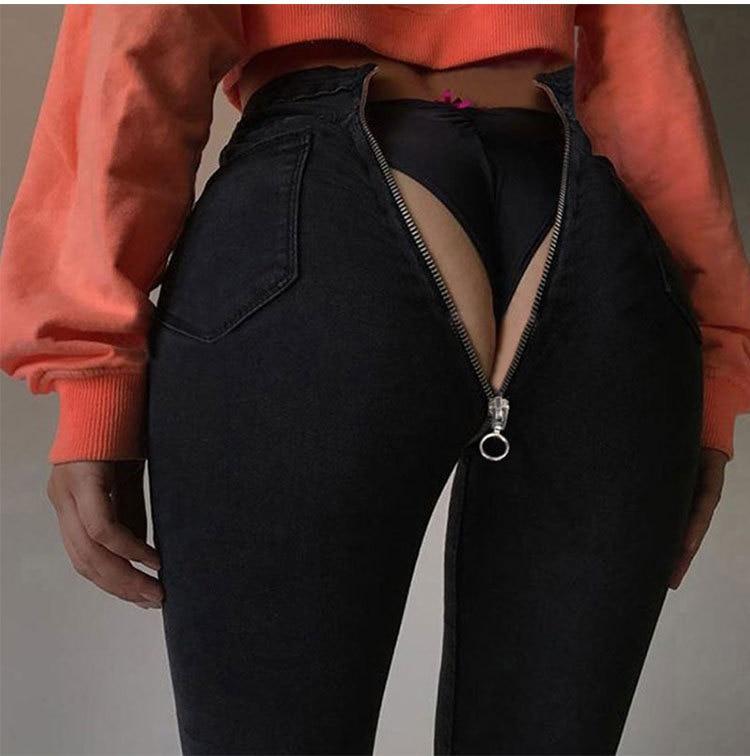 Slim Sexy Dark Back Zipper Pencil Pants Slim Denim Trousers Women Sexy High Street Jeans