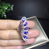 Popular design, fan shape, natural tanzanite ring, 925 silver, precious stones, gem shop monopoly
