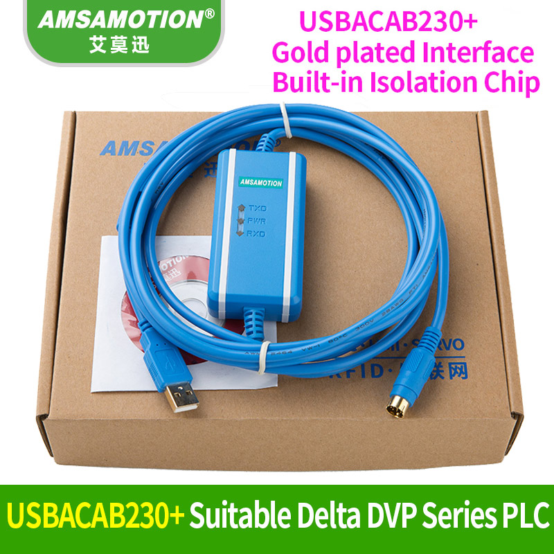 USB-DVP Suitable Delta DVP PLC Programming Cable USBACAB230 DVP ES EE SS Series Communication Cable freeship compatible dop dvp communication cable for dop a hmi and delta plc dopdvp plc cable replacement of dop dvp