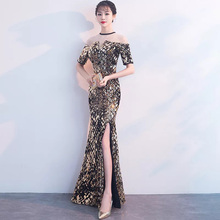 D011 short sleeve beading high side split geometric pattern sequined sexy off shoulder maxi dress недорого