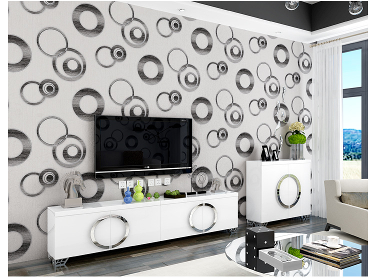 ФОТО junran Black and White Wallpapers Circles Modern Wall Paper PVC Geometric Wallpaper papel de parede 3D background Paper