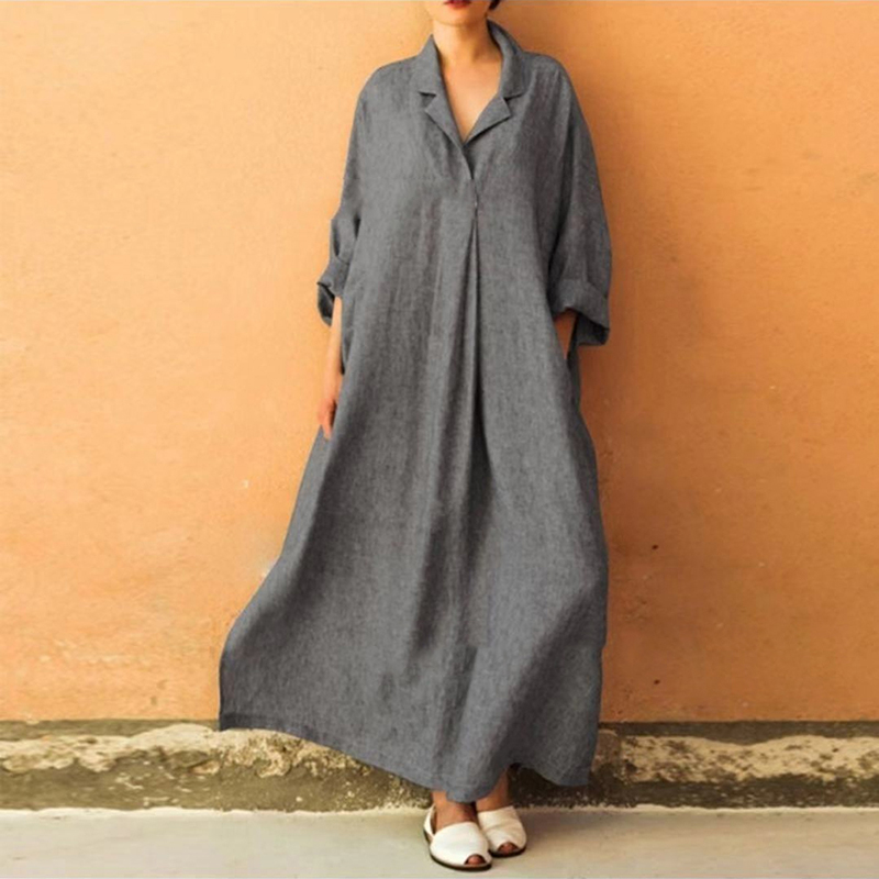 Spring Loose Plus Size Maxi Dress Women Half Sleeve Cross V-neck Ladies Ankle Length Dress Big Swing Long Dress Female Jurken