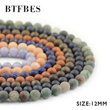 BTFBES 8mm Matte Natural stone Malachite Tridacna opal Gold sandstone Aventurine Round Loose Beads Jewely Bracelet DIY Making