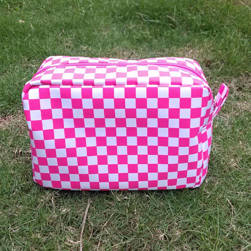 dbfab55069ae ... Pre-order Custom Check Design Cosmetic Bags Makeup Bags With Zipper  Closure 10-15days ...
