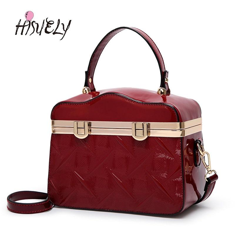 HISUELY 2018 New Fashion Women Patent Leather Handbag Shoulder Messenger Bag Rivet Emboss Lady High Quality Tote Sac Oil Pu