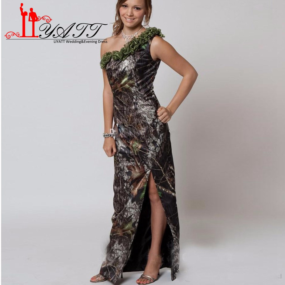 Bridesmaid dresses camo promotion shop for promotional bridesmaid new camo bridesmaid dresses 2017 one shoulder summer beach split high side front plus size maid of honor party gowns ly052 ombrellifo Gallery