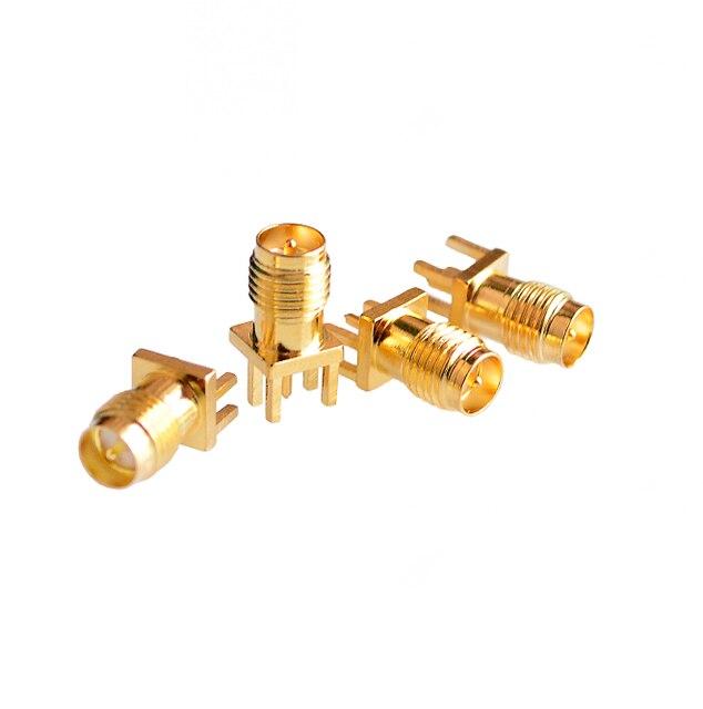 10 CÁI Brass RP-SMA Trung Tâm Cắm Nam Hàn PCB Đoạn Cạnh Gắn RF Connector cho Điện Thoại Di Động Tăng Cường Tín Hiệu/Anten/Cáp đồng trục