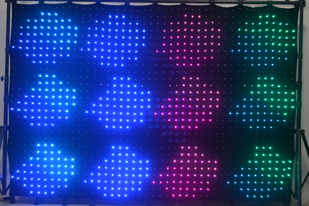 NEW High Resolution P7 2M 3M 1176 leds LED Video Curtain With PC Controller For DJ