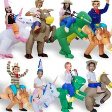 New 2017 Fan Kids Adult Inflatable T Rex Gorilla Sumo Cow Horse Unicorn  Costume Women Men Cosplay Inflatable Dinosaur Costume