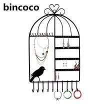 Bincoco Birdcage Forma de Montaje En Pared Organizador de La Joyería Colgante estante Porta Aretes Collar de La Joyería Soporte de Exhibición Del Estante Negro