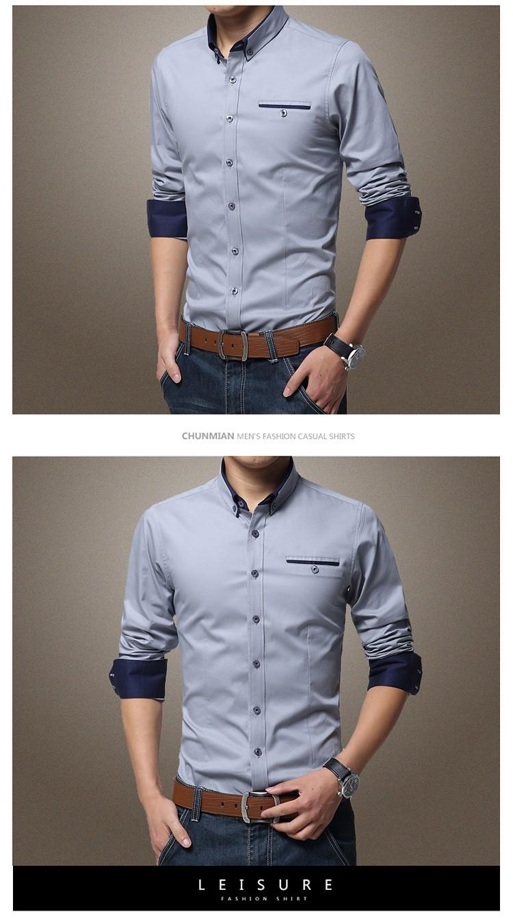 2019 New Brand Mens Dress Shirts Long Sleeve Casual Shirt Men Slim
