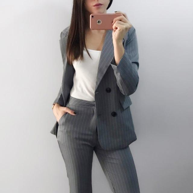Lavoro Abiti Pant 2 Pezzo Set Doppio Petto Giacca A Righe blazer & Zipper Pant Office Lady Suit Donna Outfits Autunno