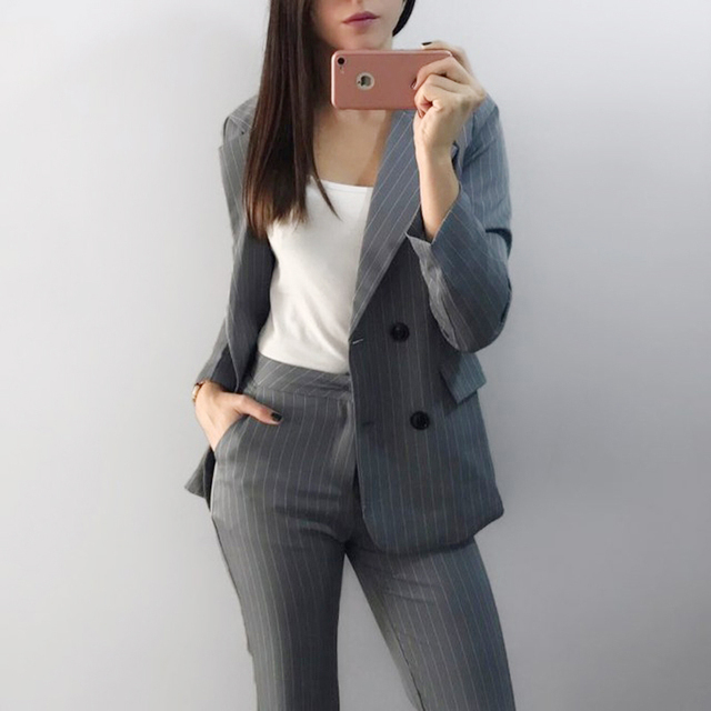Çalışma Pant Suit 2 Parça Setleri Çift Breasted Çizgili Blazer Ceket & Fermuar Pantolon Ofis Bayan Takım Elbise Kadın Kıyafetleri Sonbahar