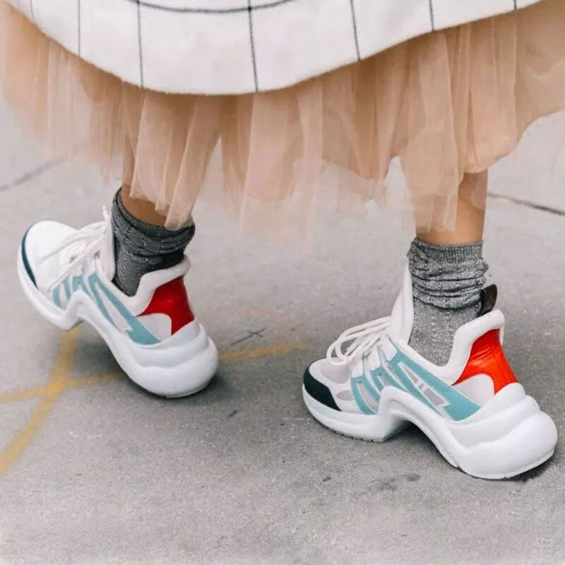 Maille Casual Mixde Femme Cuir Designer Marque Formateurs En Follwwith Couleurs Pic Dentelle as Pic Up Plates Chaussures Femmes Réel 2018 As formes fp7vqw7