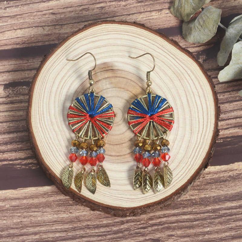Красочные Бусины кисточкой серьги для женщин винтажные богемные Бохо этнические Ловец снов Висячие висячие серьги Шарм ювелирные изделия подарок