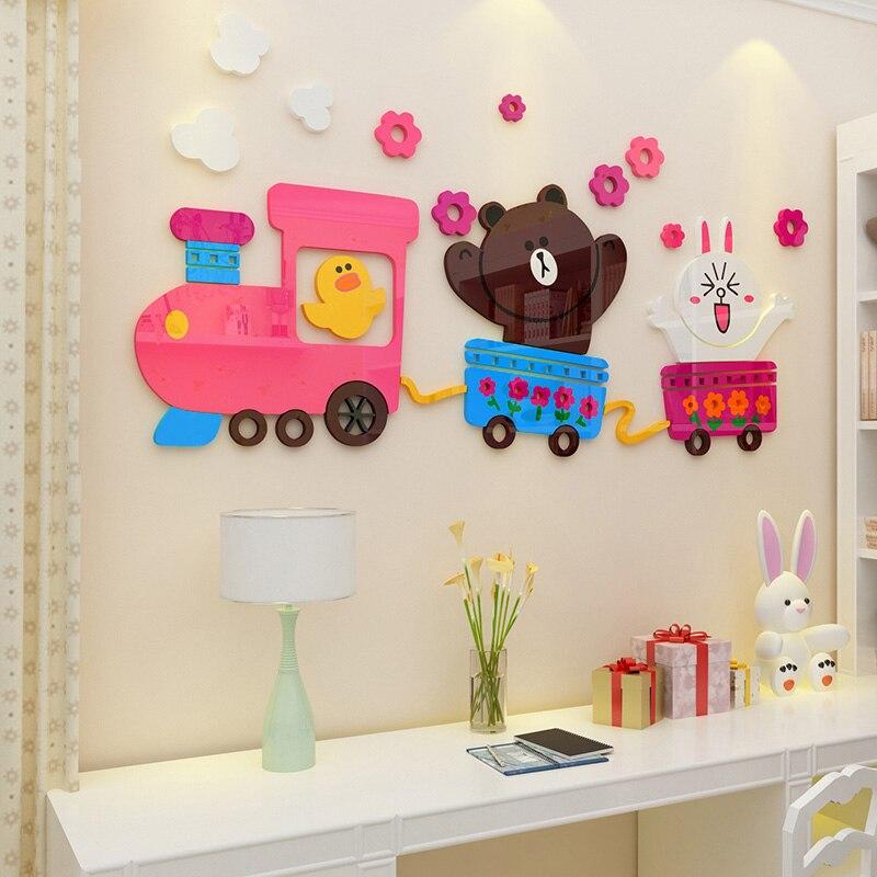Galleria fotografica <font><b>Happy</b></font> Bear Rabbit Duck Design Acrylic Wall Stickers Kids Room Kindergarten Living Room <font><b>Home</b></font> Decoration Puzzle Sticker