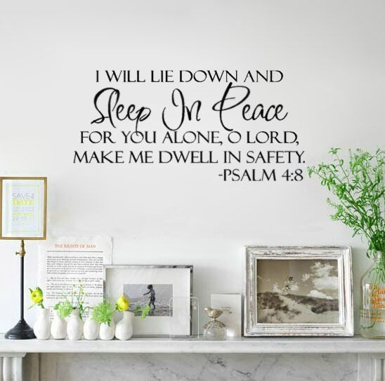 Sleep In Peace Verse Decor Adhesive Vinyl Wall Sticker Decal Quote Inspiration Art Home