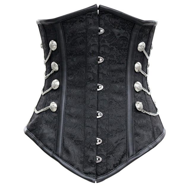 Wholesale Waist Trainer Corsets Overbust Women Black Steampunk Corset Underbust Corselet Women Steel Boned Cincher Plus Size