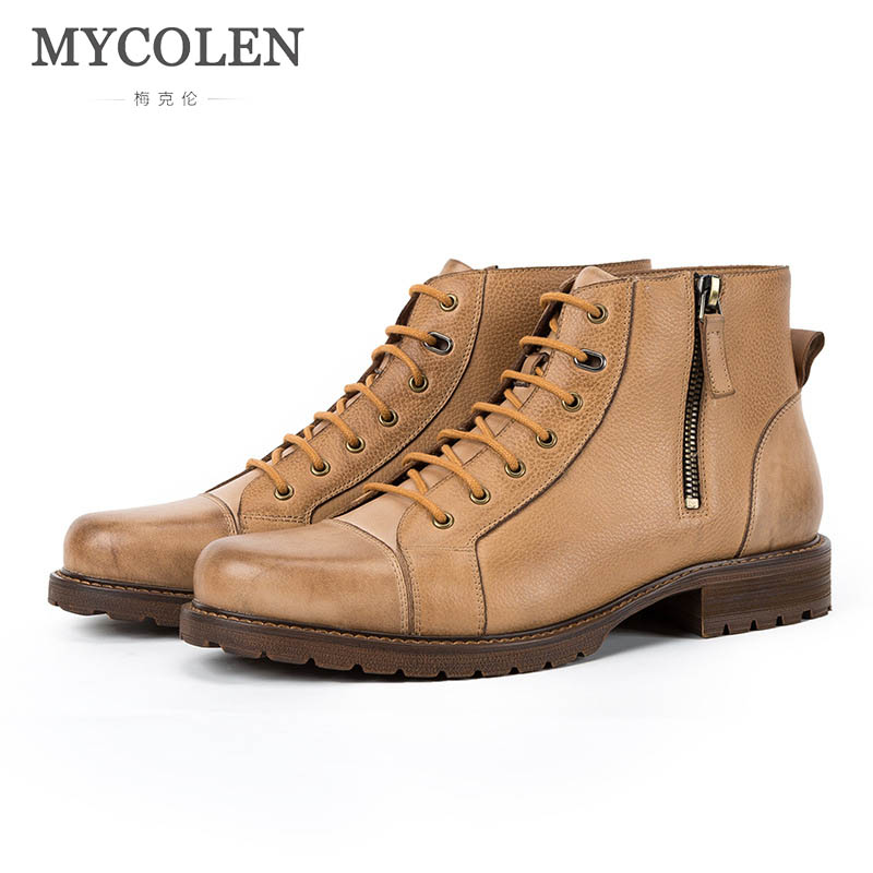 MYCOLEN New Men'S Winter Leather Ankle Boots Fashion Brand Men Autumn Handmade Boots Leisure Martin Autumn Boots Mens Shoes plus open front tassel trim kimono