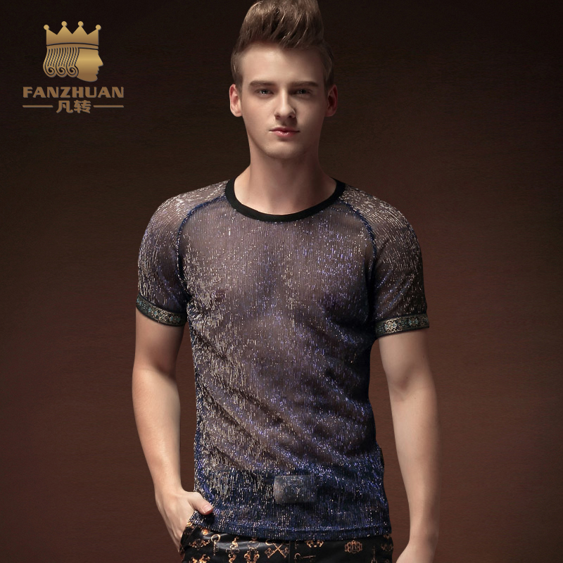 FANZHUAN Featured Clothing Hot Men TShirtsTransparent Ultra Thin O Neck  Casual T-shirt Perspective Installed Stage Winds Tshirt