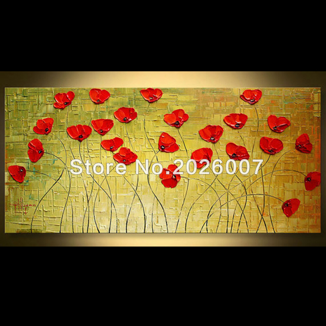 Hand Painted Landscape Modern Red Poppies Flower Palette Knife thick ...