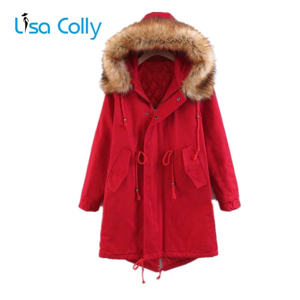 Outwear Noir army rouge Parkas Vert D'hiver Lisa Fourrures Noir Coton Manteau Capuche Femmes Long Green Colly Avec Veste wZqxnB67q