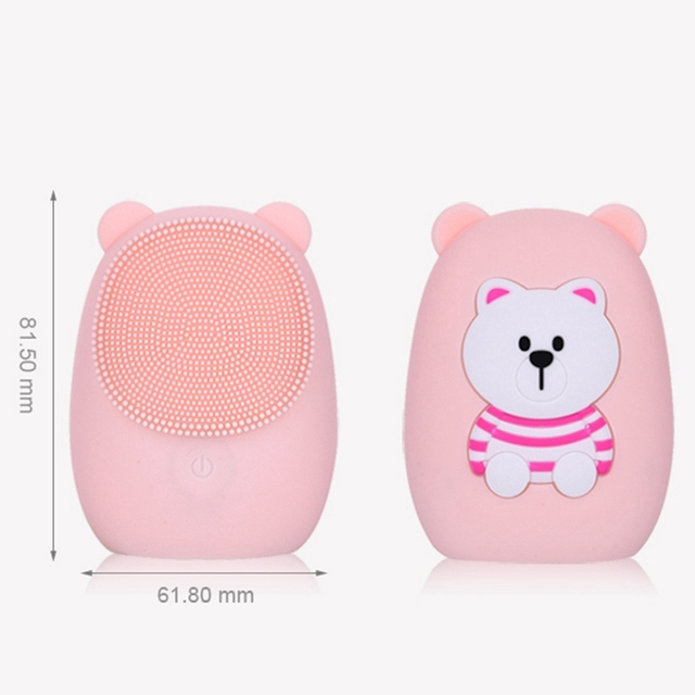 Facial Cleansing Brush Silicone Electric Facial Brush Skin Cleanser Deep Cleansing Makeup Residue Bear Face Brush For Washing 2