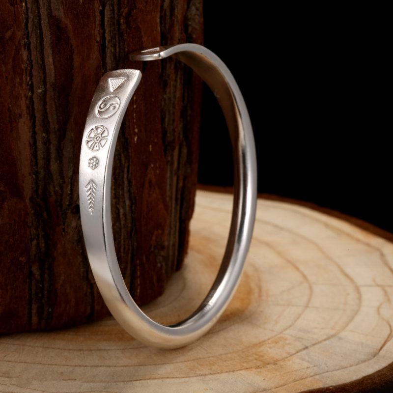 charming simple style wintersweet cuff ring for women Solid Fine Silver 990 Traditional China Style Simple Female Cuff Bangle Bracelet Handmade Sterling Silver Jewelry Women Gift 35g