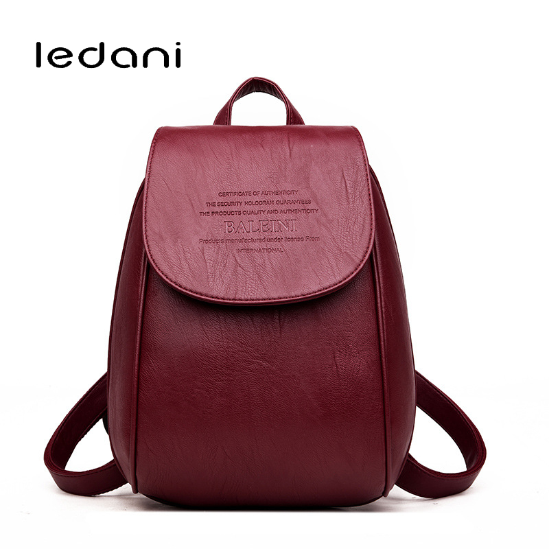 LEDANI Fashion Women Backpack Leisure Travel PU Leather Backpacks for Teenage Girls Bags High Quality Female School Backpacks fashion women pu leather backpack cute high quality 4pcs set ladies travel school backpacks for teenage girls black casual bags