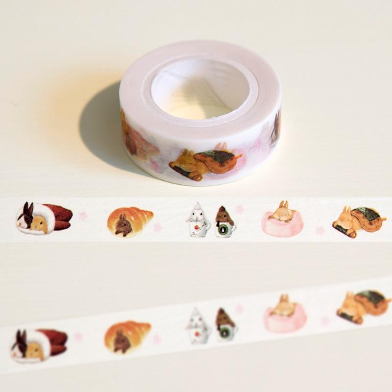 1.5cm*10m Cute Lazy Rabbit Washi Tape DIY Decoration Scrapbooking Planner Masking Tape Adhesive Tape Kawaii Stationery Supplies