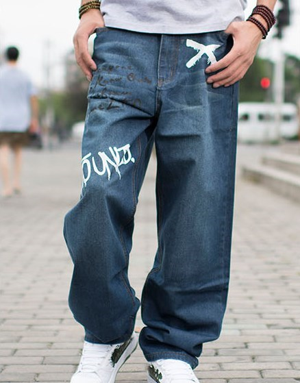 Mens Wide Leg Baggy Denim Jeans Hip Hop Brand Plus Size ...