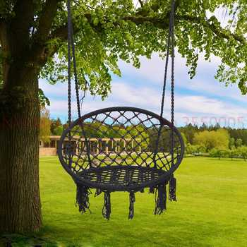 Nordic Style Round Hammock Outdoor Indoor Dormitory Bedroom Hanging Chair For Child Adult Swinging Single Safety Hammock 1pcs