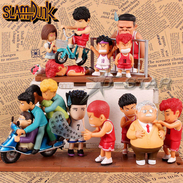 Free Shipping Cute 5pcs Slam Dunk The Scene Sakuragi Hanamichi Basketball Doll Boxed PVC Anime Action Figure (5pcs per Set) 1 jurassic world tyrannosaurus building blocks jurrassic dinosaur house games ninja brick toys for children baby gift speelgoed