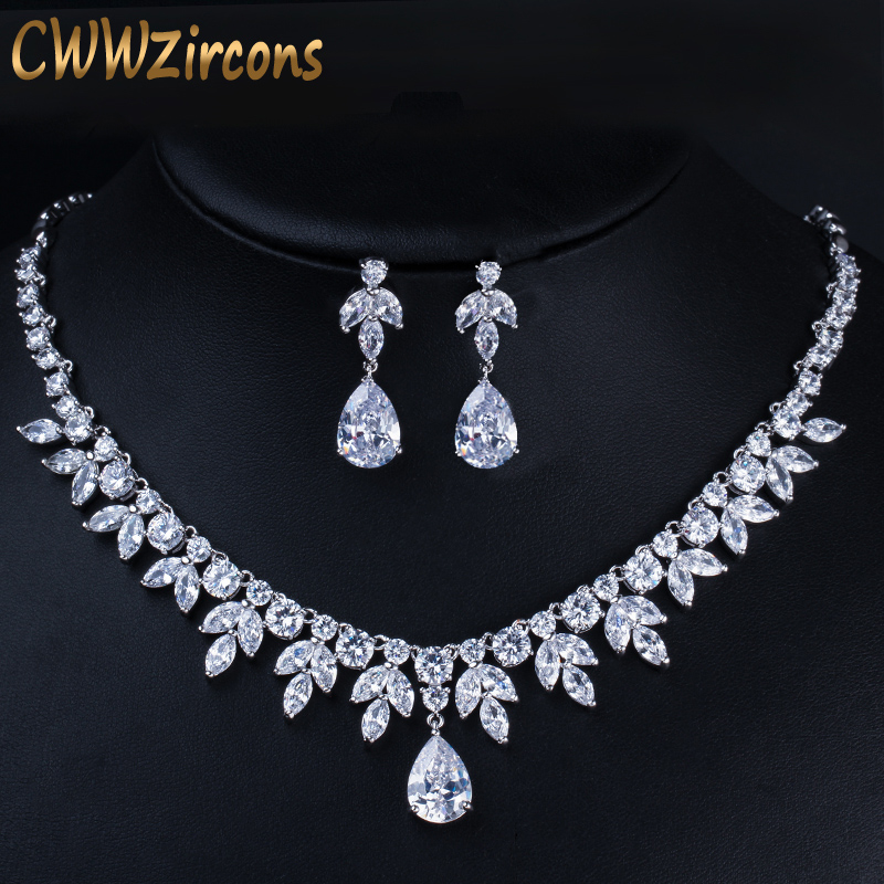 CWWZircons Best Bridal Party Accessories Silver Color Cubic Zirconia Wedding Necklace Earrings Jewelry Set For Brides T037