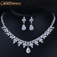 CWWZircons, los mejores accesorios para fiesta nupcial, Color plata, Circonia cúbica, collar de boda, pendientes, conjunto de joyería para novias T037