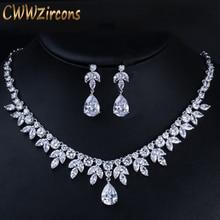 Cwwzircon лучшие аксессуары для свадебвечерние серебряный цвет кубический цирконий свадебное ожерелье серьги комплект ювелирных изделий для невесты T037
