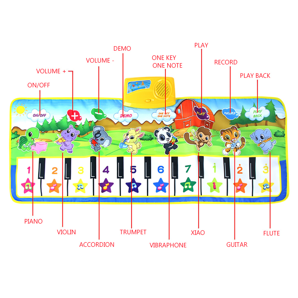 xCM Children game blanket Colour Kids Baby Animal Piano Musical Touch Play Singing Gym Carpet Mat