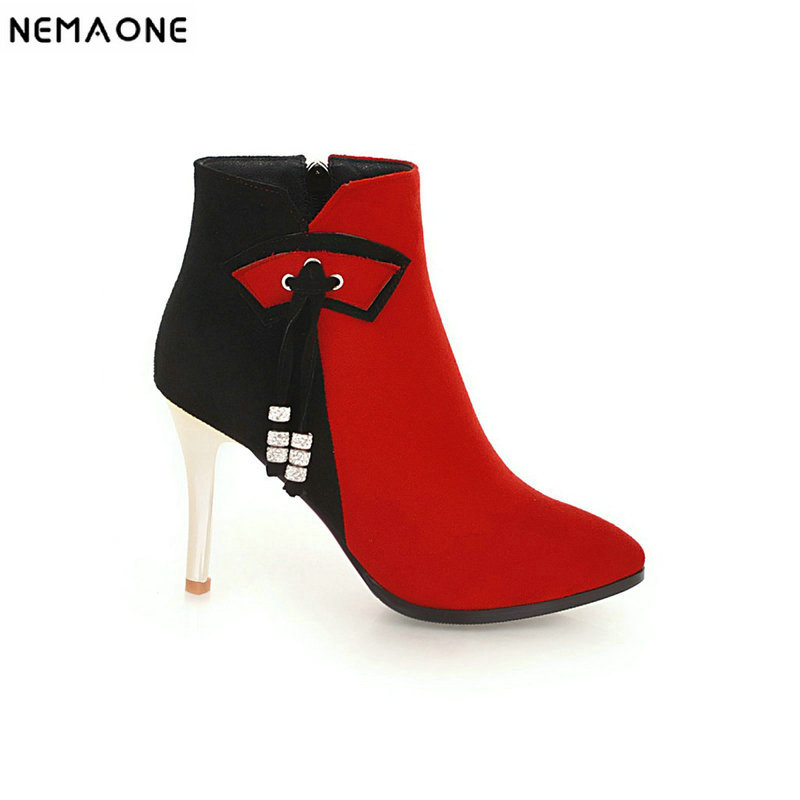 NEMAONE 2019 Women wedding Shoes Ankle Boots mixed colors High Heels poined toe Women Party Shoes