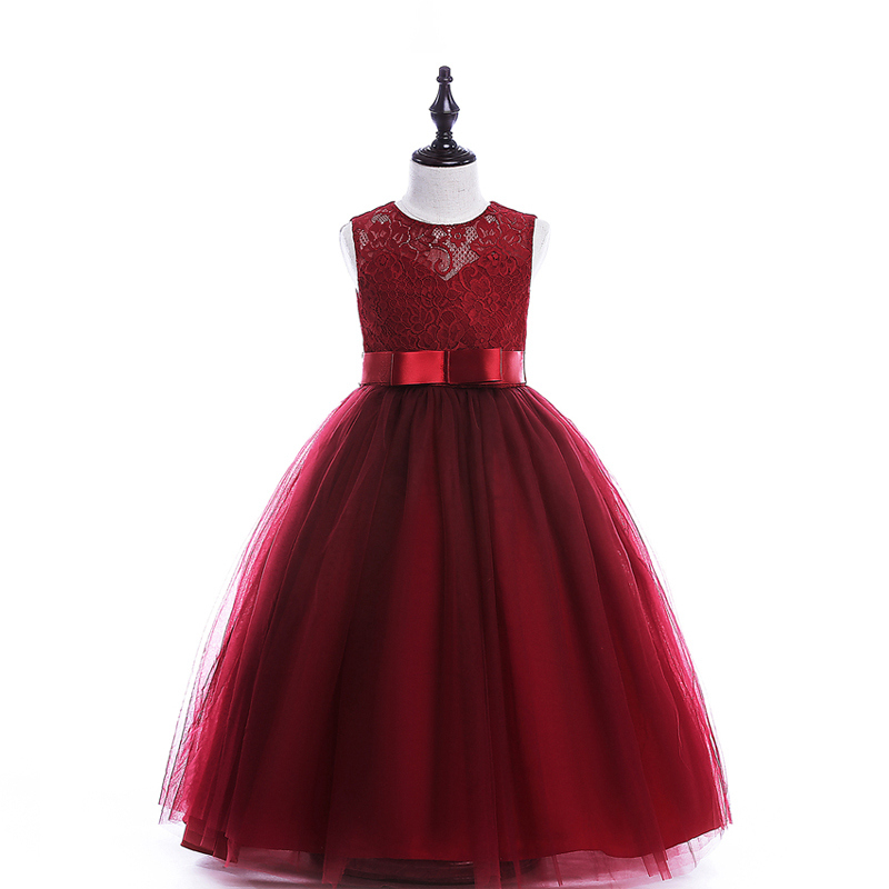 A-line girls dress long style children party dress 2 colors 8 10 12 14 16 Years kids teens clothes teenagers girls wedding dress retail 2 8 years children s girls